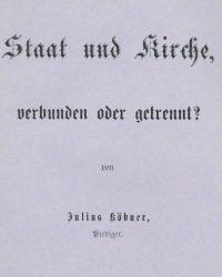 Julius Købner: Stat og kirke - forbundet eller adskilt?